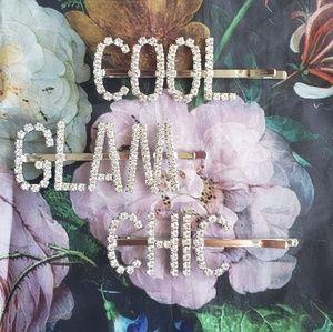 GLAM, COOL, CHIC rhinestone hair accessories